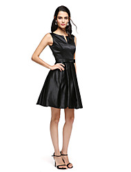 TS Couture Cocktail Party Prom Dress - Little Black Dress A-line Notched Short / Mini Satin with Bow(s) Sash / Ribbon Pleats
