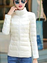 Feminino Longo Casaco Capa,Simples Sólido Casual-Fibra Sintética Penas de Pato Branco Manga Longa Colarinho Chinês