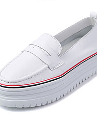 Damen-Loafers & Slip-Ons-Lässig-Nappaleder-Plateau-Komfort-Schwarz / Rot