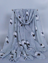 Women's Fashion Voile Sheepes Print Cotton Scarf white/Gray/Wine/Blue/Navy Blue