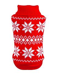 Gatos Perros Suéteres Ropa para Perro Invierno Primavera/Otoño Copo Navidad Año Nuevo Rojo Azul