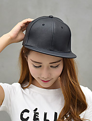 Unisex Leather Casual Pure Color Dome Hip-hop Baseball Outdoor Fashion Hat