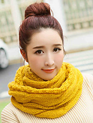 Men and women Vintage Casual Work Pure Color Wool Knit Scarf College wind neckerchief