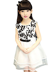 Girl's Casual/Daily Solid DressPolyester Summer Black / Red