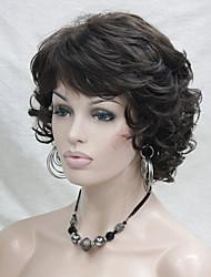 nouveau ondulés bouclés marron perruque 6'S # court synthétique cheveux pleins de femmes pour tous les jours