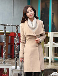 Women's Casual/Daily Simple Coat,Solid Long Sleeve Fall / Winter Brown / Gray Special Fur Types Thick