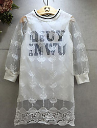 Girl's Going out Print DressCotton Spring / Fall White