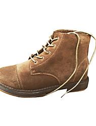 Women's Boots Winter Comfort PU Casual Low Heel Lace-up Black Camel Coffee Walking