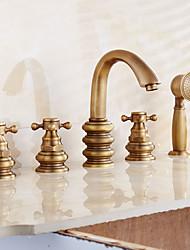 ducha de mano incluido con la válvula de cerámica dos asas dos agujeros para el latón antiguo, grifo de la ducha / bañera grifo