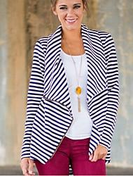 ebay AliExpress explosion models 2016 autumn new stripe irregular zipper cardigan coat female