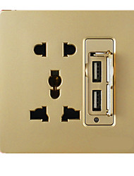 Q3 Champagne Gold Wall Switch (Two USB Socket With Two Three Plug)