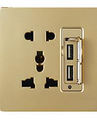 q3 шампанского переключатель золотой стены (два USB разъем с двумя три вилки)