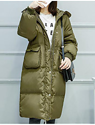 Women's Long Down Coat,Street chic Casual/Daily Solid-Polyester White Duck Down Long Sleeve Hooded