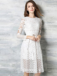 Women's  Casual/Daily Simple / Boho / Street chic A Line /Lace DressSolid Round Neck Knee-length Long SleeveWhite