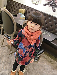 Girl's Casual/Daily Floral DressCotton Winter / Spring / Fall Red