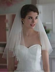 Hochzeitsschleier Zweischichtig Gesichts Schleier Ellbogenlange Schleier Schnittkante Tüll