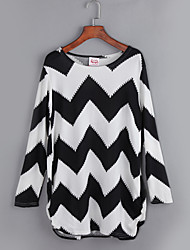 Women's Casual/Daily Street chic Fall T-shirt,Striped Round Neck Long Sleeve White Cashmere Medium