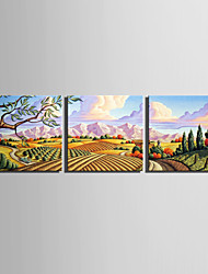 E-HOME Stretched Canvas Art Pastoral Mountain Scenery Decoration Painting  Set of 3