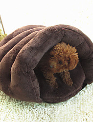 Cat / Dog Bed Puppy House Pet Covers Soft Plush Brown / Gray
