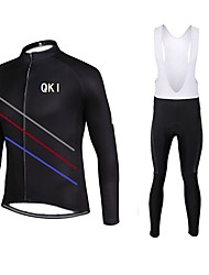 QKI Cycling Jersey with Bib long Tights Long Sleeve Bike Breathable / Quick Dry / Ventilation /Front Zipper / 3D coolmax gel pad