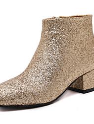 Damen-Stiefel-Lässig-Kunstleder-Blockabsatz-Komfort-Schwarz / Gold