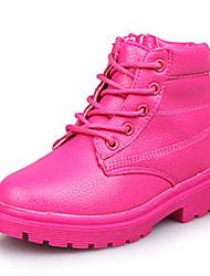 Girl's Boots Fall / Winter Comfort Leatherette Dress / Casual Flat Heel Zipper Black / Yellow / Pink / Peach Walking