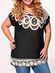 Damen Druck Einfach Lässig/Alltäglich T-shirt,Rundhalsausschnitt Sommer Kurzarm Schwarz Kunstseide / Polyester Dünn