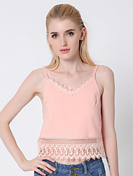 1287 Women's Going out / Casual/Daily Sexy Summer Tank TopSolid Strap Sleeveless Pink Cotton / Polyester Thin
