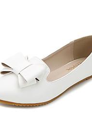 Damen-Flache Schuhe-Kleid-Kunstleder-Flacher Absatz-Komfort-Schwarz Weiß