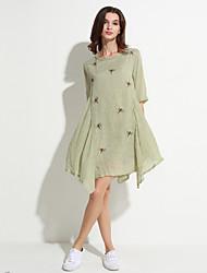 De las mujeres Corte Ancho Vestido Vintage / Simple Estampado Sobre la rodilla Escote Redondo Lino / Poliéster