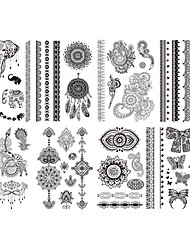 8pcs Opp New Brand Design India Black Henna Ink Tatoo Temporary Sticker Inspired Flash Sexy Tattoo Body Art #2