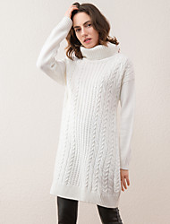 Women's Going out Simple Long Pullover,Solid White Turtleneck Long Sleeve Acrylic Winter Thick Micro-elastic