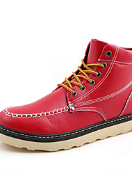 Men's Flats  Work & Safety / Comfort PU Outdoor / Casual Low Heel Lace-up Black / Brown / Red Walking / Others