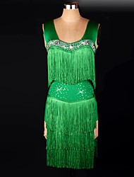 Ice Skating Dress Women's Performance / Training Spandex Ruched / Sequins / Tassel(s) 1 Piece Green