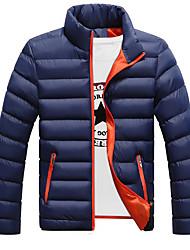Men's  Winter Casual Work Long Sleeve Stitching Candy Colors Turtleneck Zipper Cotton Warm Coat