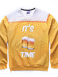 Men's Casual/Daily Active Regular HoodiesPrint Multi-color Round Neck Long Sleeve Polyester Fall