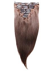 7 шт / комплект клип в наращивание волос средней коричневый 14inch 18inch 100% человеческих волос для женщин