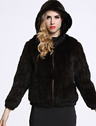 BF-Fur Style Women's Casual/Daily Sophisticated Fur CoatSolid Hooded Long Sleeve Winter Gray Others