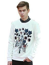 Sweatshirt Pour des hommes A Motifs / Fleur Décontracté Coton Manches longues Blanc