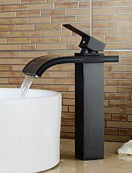 cascata centerset contemporanea con valvola di ceramica singola maniglia un foro per Chrome, lavandino rubinetto del bagno