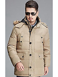 Men's Regular Padded Coat,Simple Casual/Daily Solid-Polyester White Duck Down Long Sleeve Hooded Beige