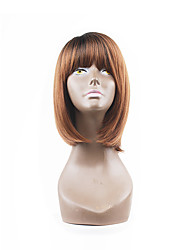 Hot Style Brown Mixed Auburn Two Tones Natual Bob Hair Style With Straight Bangs Synthetic Capless Wigs