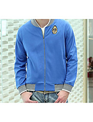 Men's Casual/Daily Simple Short Hoodies,Solid Blue / Black Stand Long Sleeve Cotton Fall Medium Micro-elastic