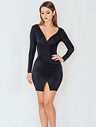 Women's Casual/Daily Sexy / Simple Bodycon DressSolid Slim Club Deep V Mini Long Sleeve Ruched Mid Rise