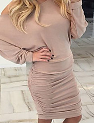 Women's Casual/Daily Sexy Shift DressSolid Round Neck Above Knee Long Sleeve Beige / Black Cotton Winter