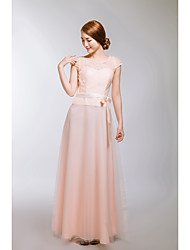 Formal Evening Dress A-line Scoop Floor-length Lace / Tulle with Sash / Ribbon