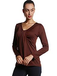 Damen Solide Einfach Ausgehen / Lässig/Alltäglich T-shirt,Rundhalsausschnitt Frühling / Herbst Langarm Schwarz / Braun Polyester Mittel