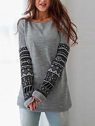 Sweatshirt Femme Décontracté / Quotidien simple Imprimé Col Arrondi Elastique Coton Manches Longues Automne Hiver