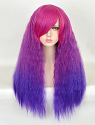 75cm Purple Ombre Long Kinky Curly Shaggy Women Synthetic Wig Fashion Lolita Loose Curly Natural Hair Harajuku Style