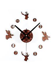Retro Style DIY Creative Deer Head Mute Wall Clock